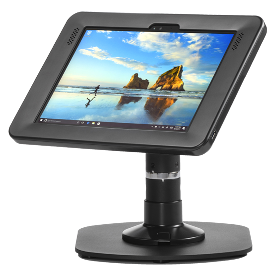 "Pipeline Kiosk 8"" with Elite for Surface Pro 4 and New Surface Pro in Black with Baseplate 800-00001_00090"